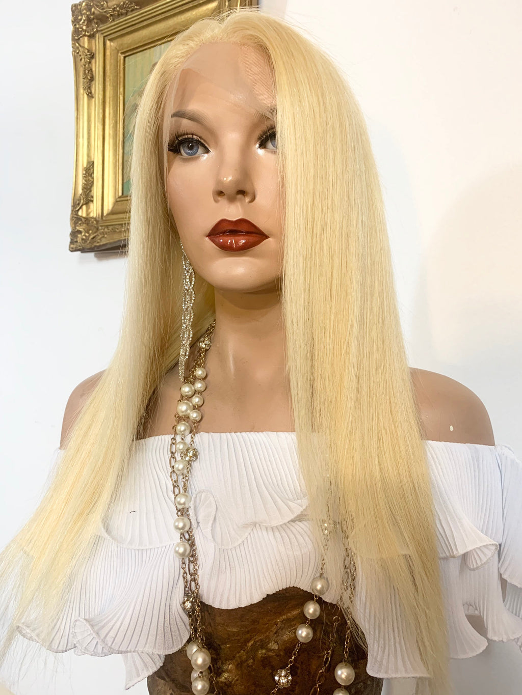 HUMAN HAIR Full lace Wig,  Natural Blonde 613 Virgin hair, 18 Inches, Full multi parting Undetected Lace