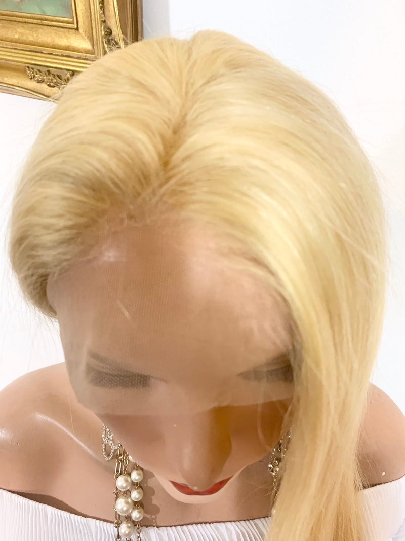 HUMAN HAIR Full lace Wig,  Natural Blonde 613 Virgin hair, 18 Inches, Full multi parting Undetected Lace FABULOUS