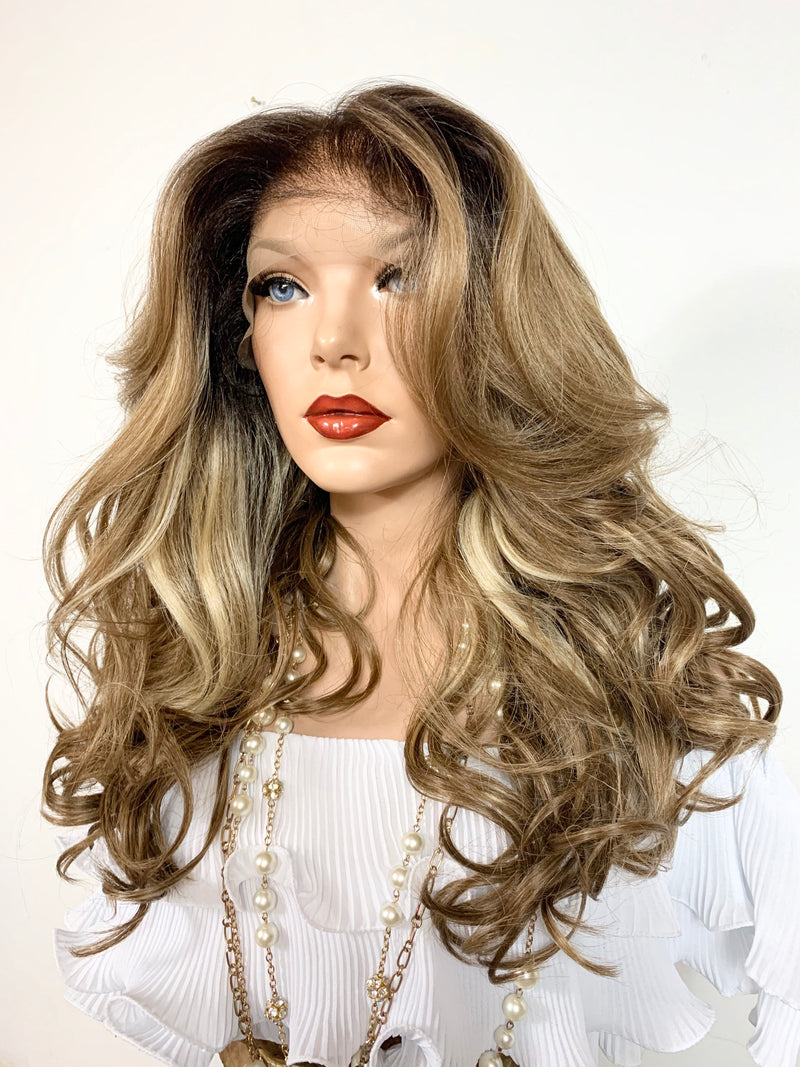 "SANDY BLONDY 2. Volume curly hair lace front wig 18"" long Undetectable + Natural layers + 13x6 Frontal Parting+ Balayage Color FABULOUS"