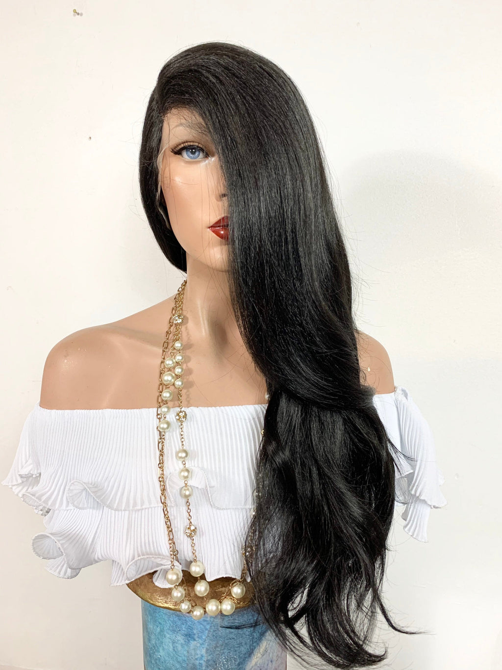 "KOURTNEY K. Volume Curls lace front wig in 24"" long hair *Undetectable Lace + Natural layers + Side Parting *Color: #1 jet black FABULOUS"