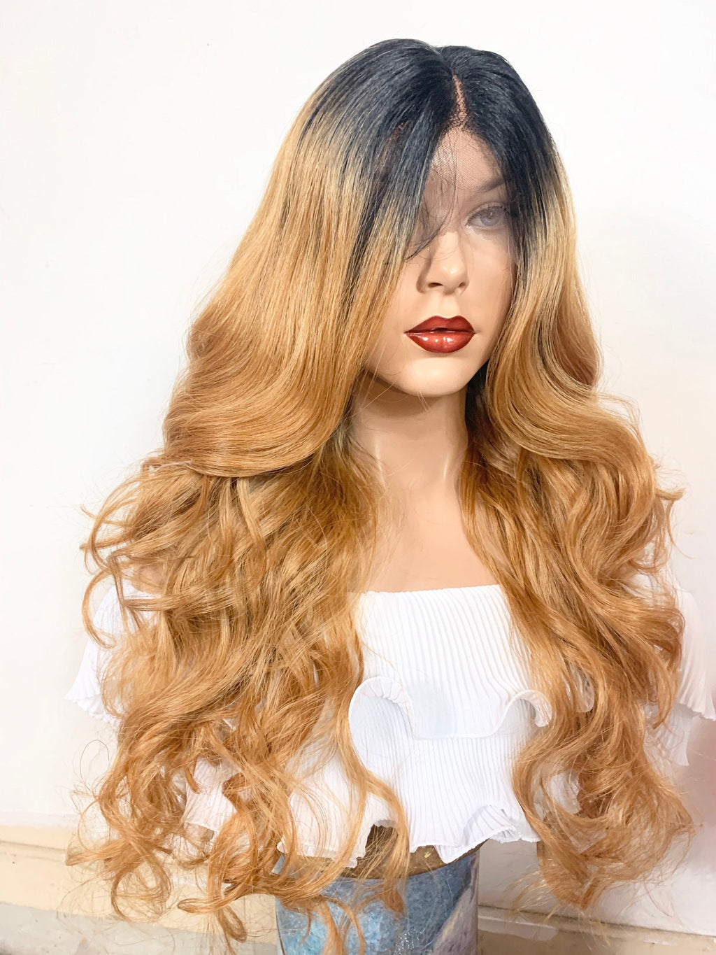 "BROWN SUGAR. Volume Curls lace front wig in 24"" long hair *Undetectable Lace + Natural layers + Middle Parting *Color: t1b/27 ombré FABULOUS"