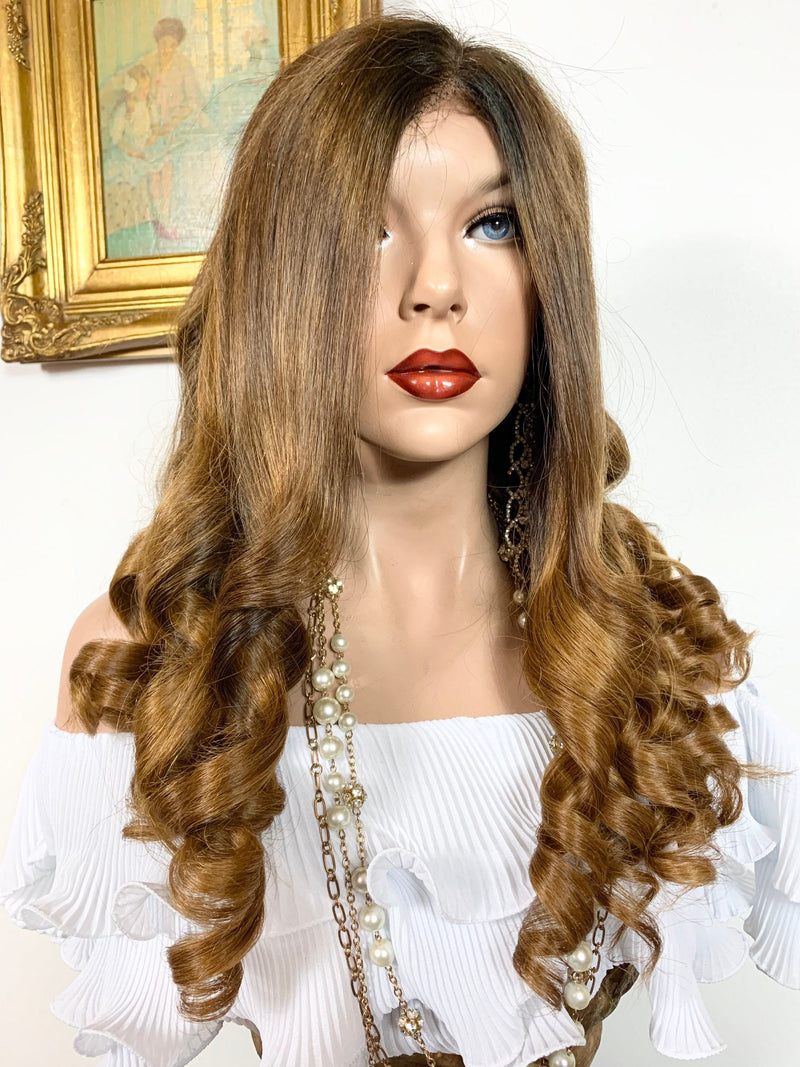 "BEAUTIFUL MARISOL. Human Hair* Balayage Auburn blonde lace front wig 13x4 Multi Parting 24"" long 920 FABULOUS # 42"