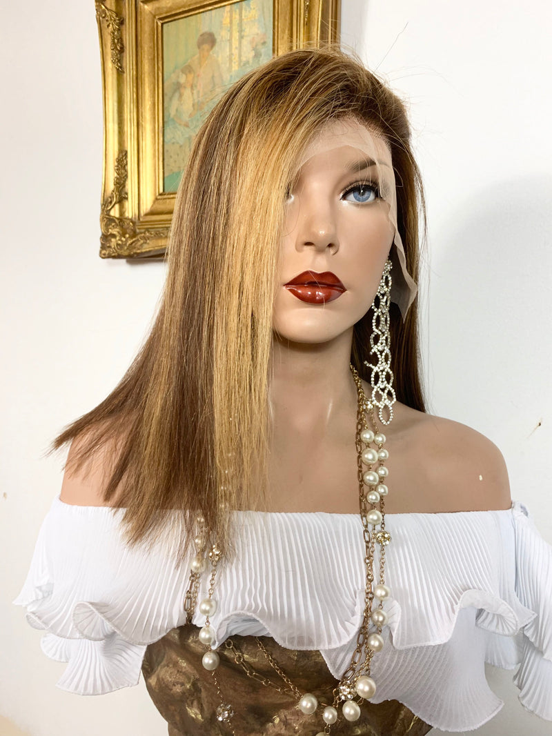 "GORGEOUS GUADALUPE 2. Human Hair* Balayage Auburn blonde Full lace wig 13x4 Multi Parting 10"" long 920 FABULOUS # 43"