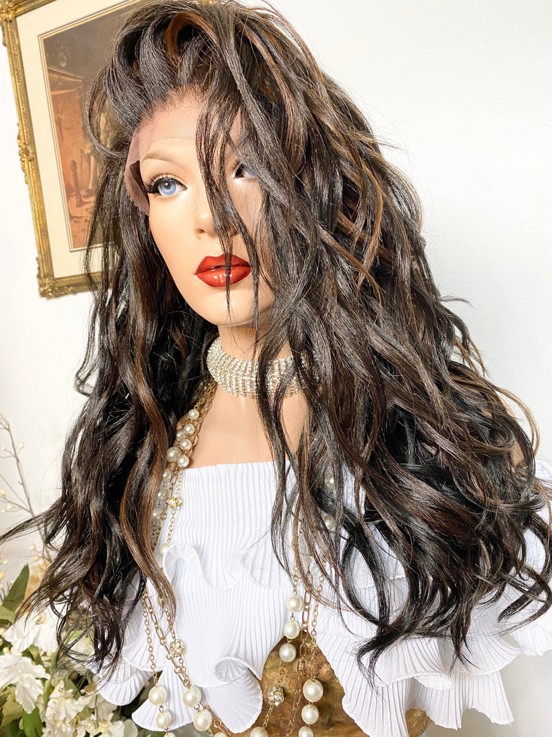 "ELABORATE LOVE' balayage' 4x4 silk base  lace wig 18"" long hair *Natural layers + Multi parting ' + Deep lace FABULOUS *1020"