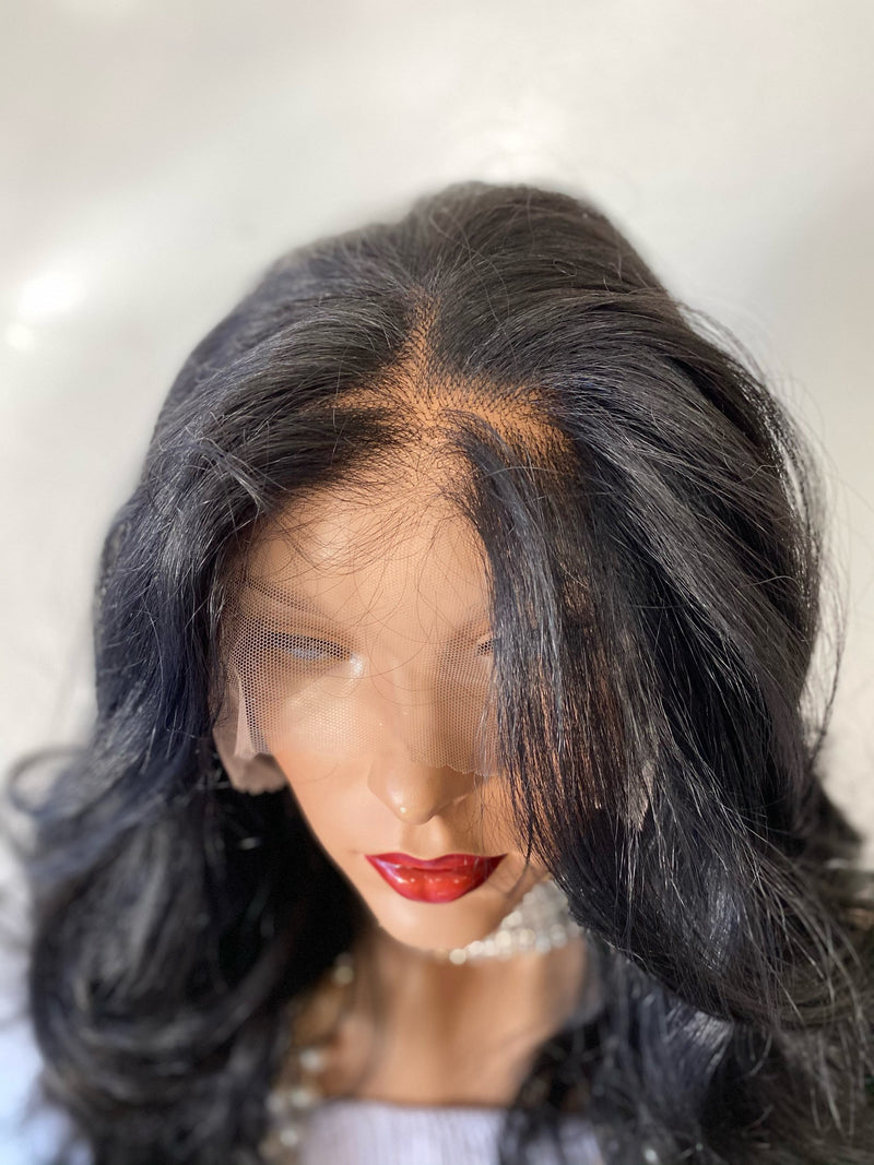 "KEEP them GUESSING' Black' 13x6 handtied lace wig 26"" long hair *Natural layers + Multi parting ' + Deep lace FABULOUS *1020"