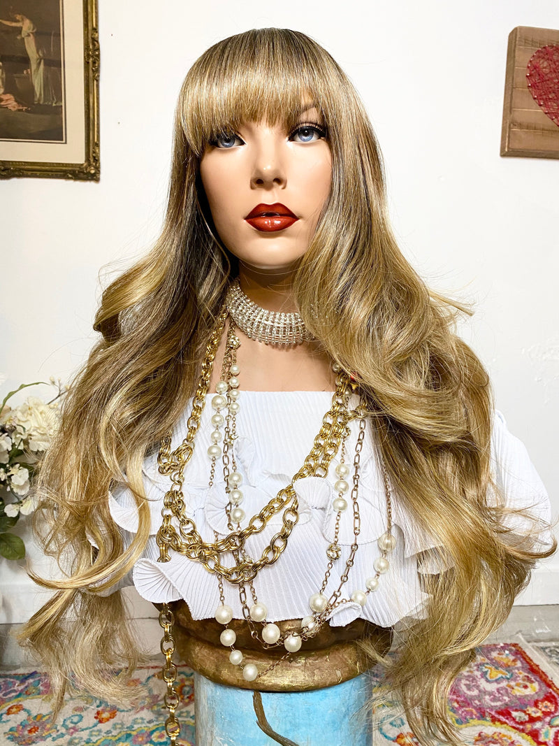 "26"" FUNKY BLONDIE BALAYAGE' Long curly layered full wig + Full bangs! Ready to wear #1-18"