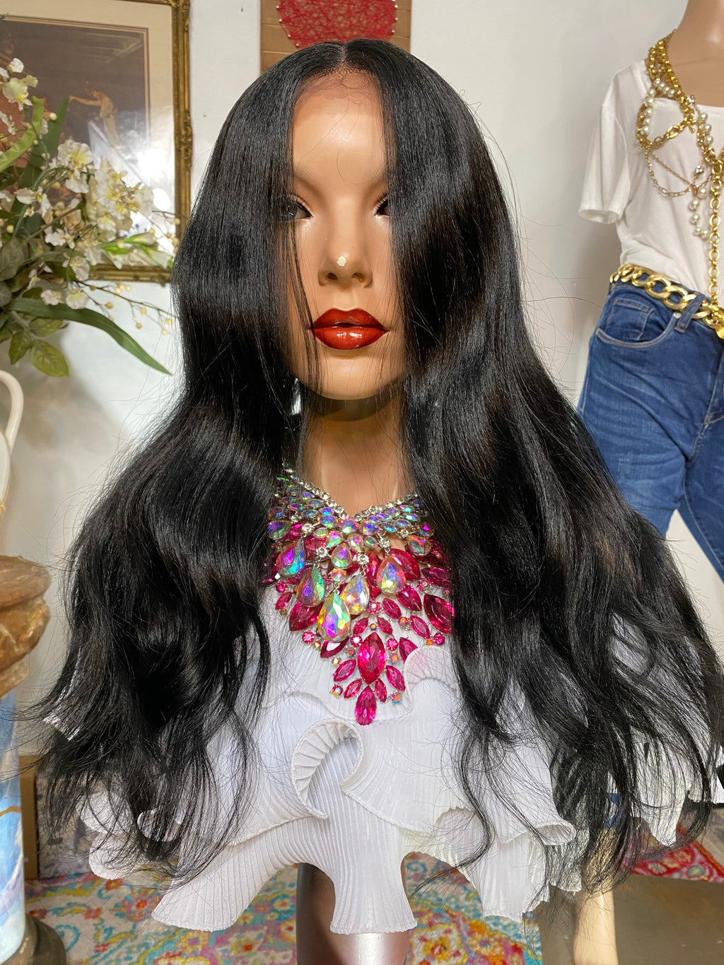 "MOON GODDESS  #1jet black 22"" Body Wave 4x4 SILK Top Lace Front wig *Ready to wear+ *Fabulous *invisible hairline *natural *human hair blend"
