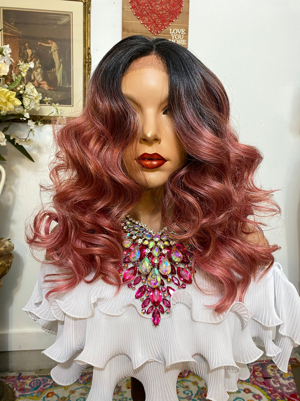 "Pink ombré SILK LACE 4x4 freestyle part HD lace front wig 22"" Undetectable hairline + Lots of Volume and Curls 1-18"