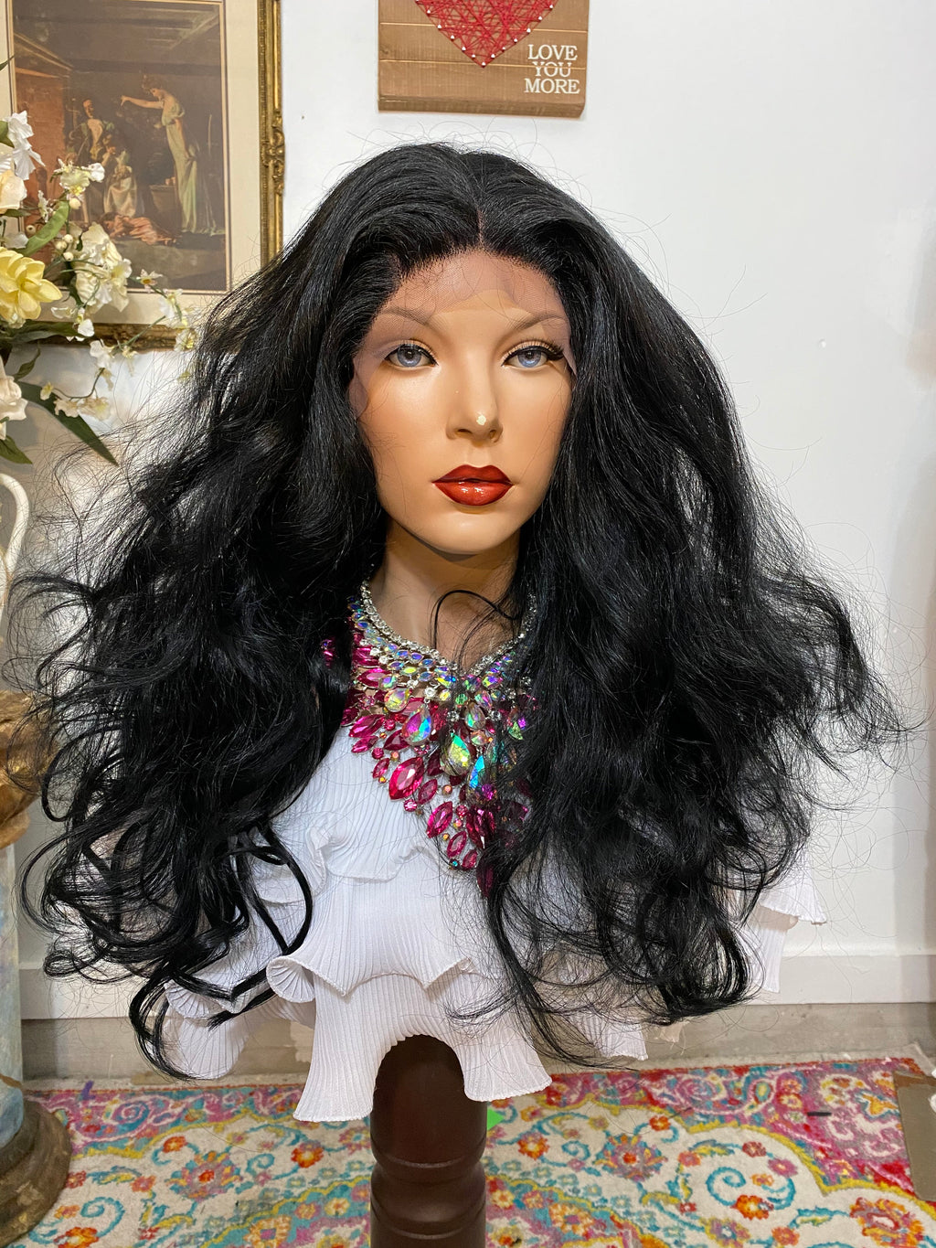 "ANASTASIA Jet Black #1 Silk Base Lace 4x4 freestyle part HD lace front wig 22"" Undetectable hairline + Lots of Volume and Curls 1-18"