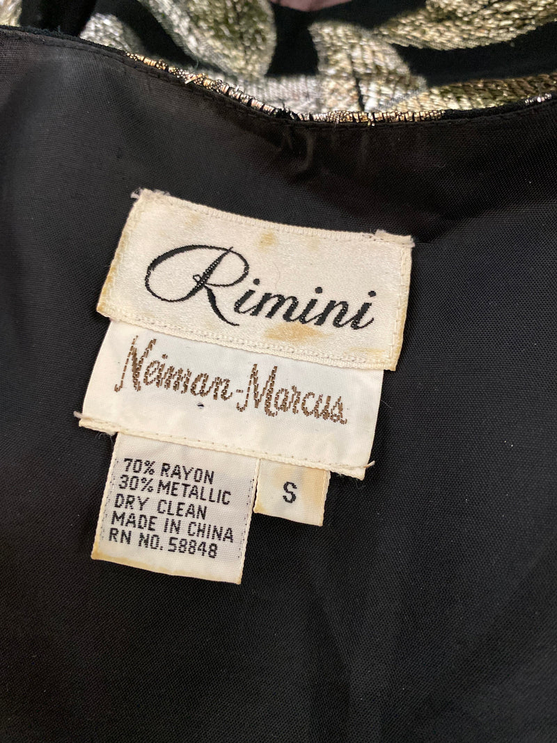 vintage RIMINI NEIMAN MARCUS sheer silver gold black long sleeve 80's blouse top shirt small