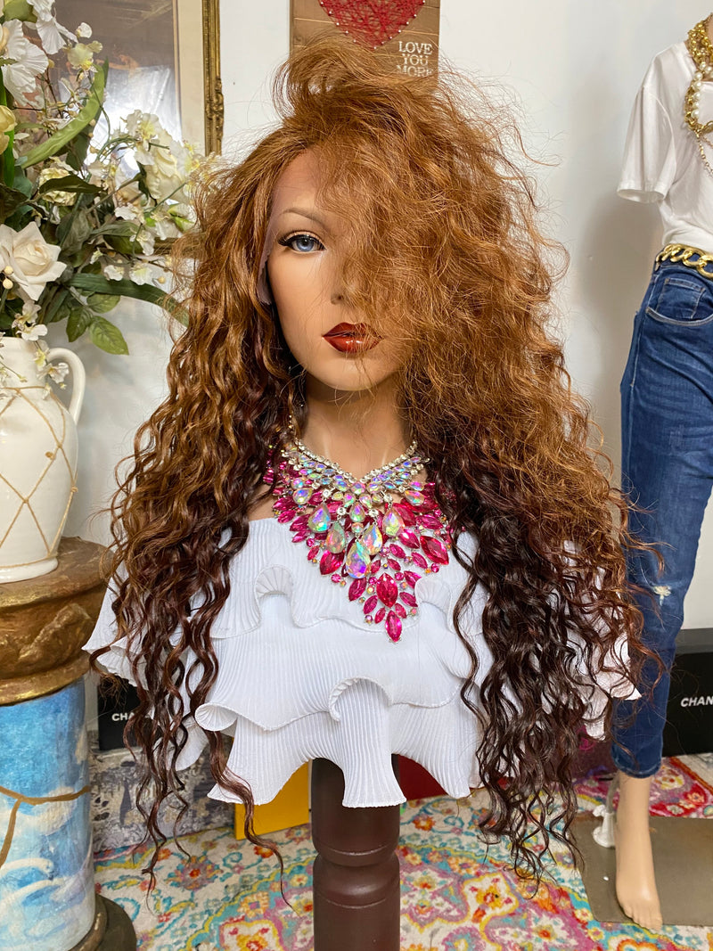"HONEY BROWN #33/30 mix 22"" Long Wavy layered Lace Front wig *Ready to wear+ *Fabulous *invisible hairline *natural *human hair blend"