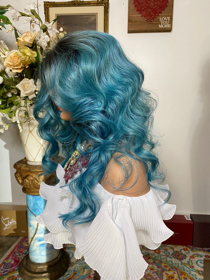 "AQUARIUM BLUEBERRY #Blue mix 22"" Body Curl layered Lace Front wig *Ready to wear+ *Fabulous *invisible hairline *natural *human hair blend"