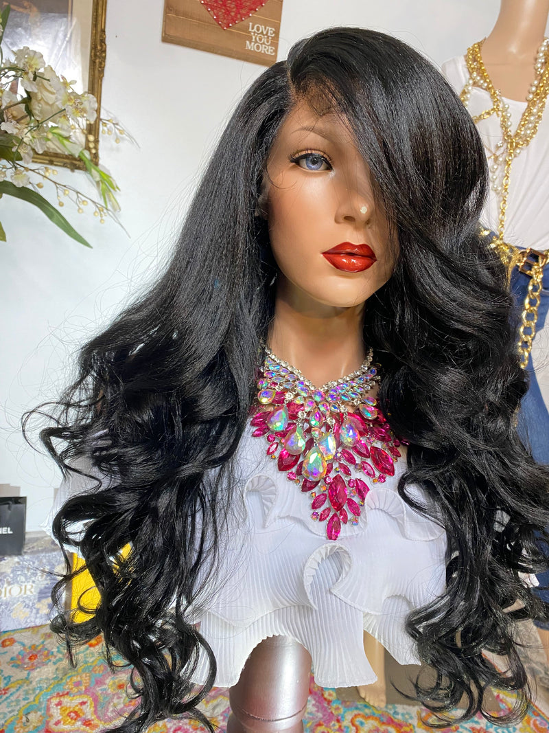 "GODDESS OF LOVE #1jet black 24"" Body Curl layered Lace Front wig *Ready to wear+ *Fabulous *invisible hairline *natural *human hair blend"
