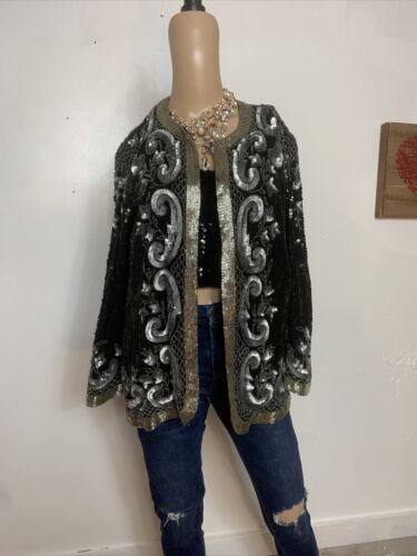 Sequin Hi Fashions Vintage 80s Silver Sequin Black Silk Jacket small. R2