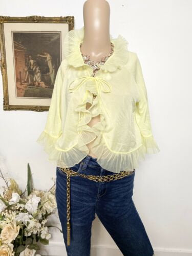 Vintage Silk See Thru Frilly Ruffled Lingerie Blouse - Medium. 218