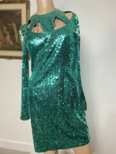 Vintage Cache Formal Dress Size 4 Green Beaded Sequins 100% Silk Evening R2