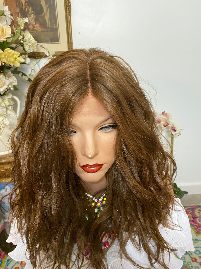 "KIMMI brown balayage Lace front wig MIDDLE part HD lace front wig 12"" Long Undetectable hairline + Lots of Volume and Waves"