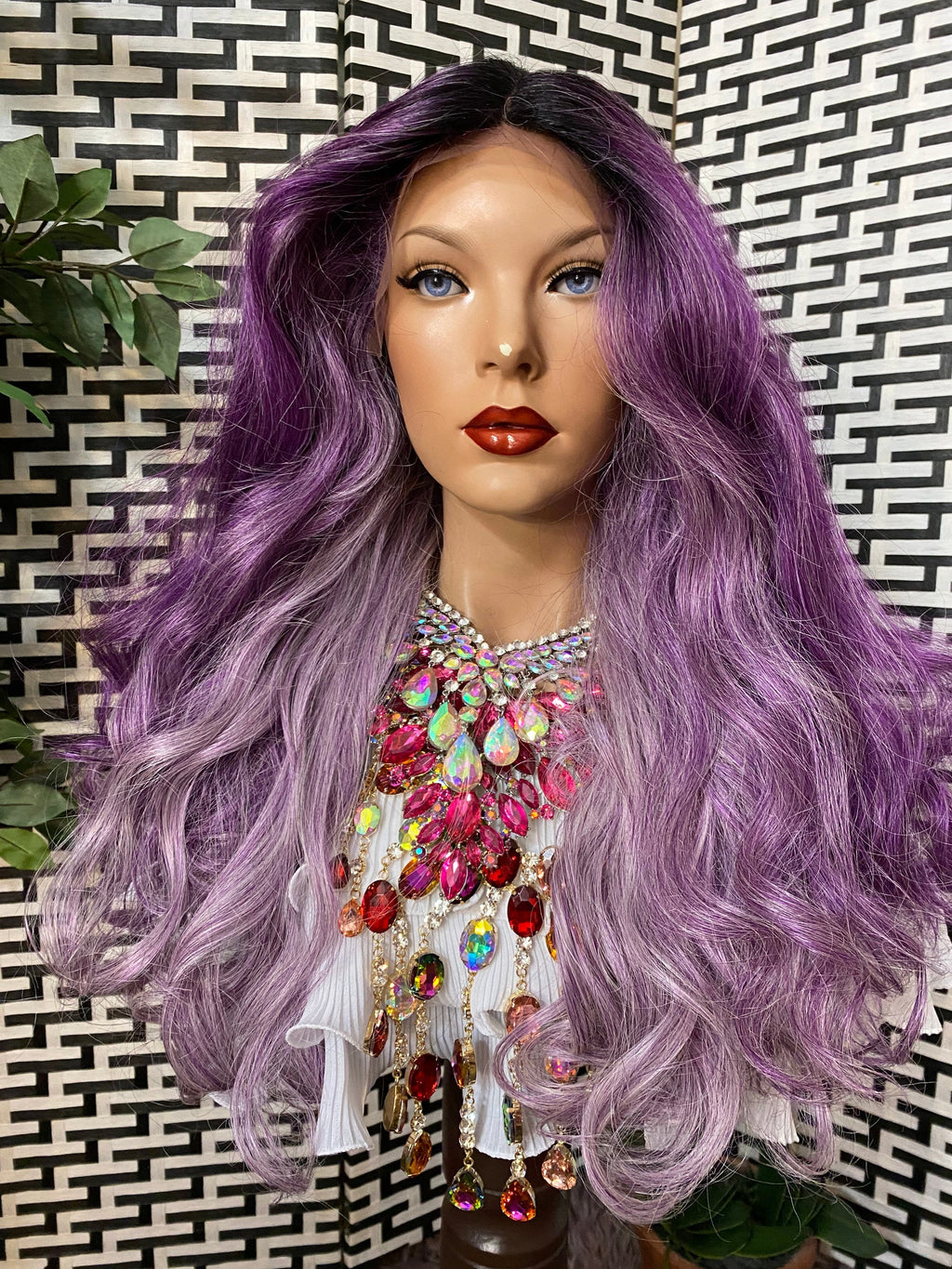 PURPLERAIN* ombré volume curls HH blended|4x4 silk top LUXURIOUS lace front wig 20""
