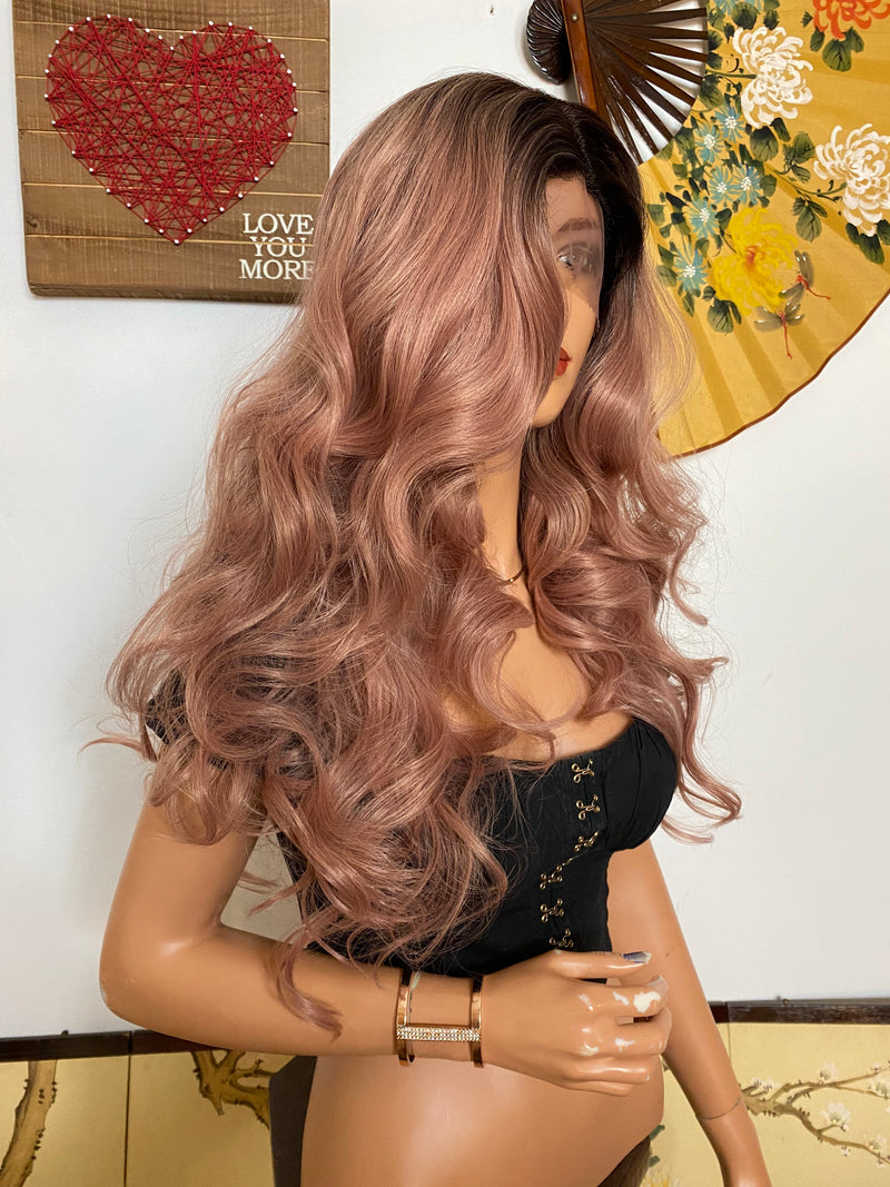 "TAMARA dusty pink ombré lace front wig 24"" Long