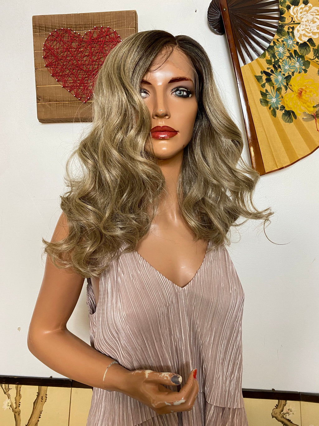 "LORIA ash blonde bob lace front wig 12""Long