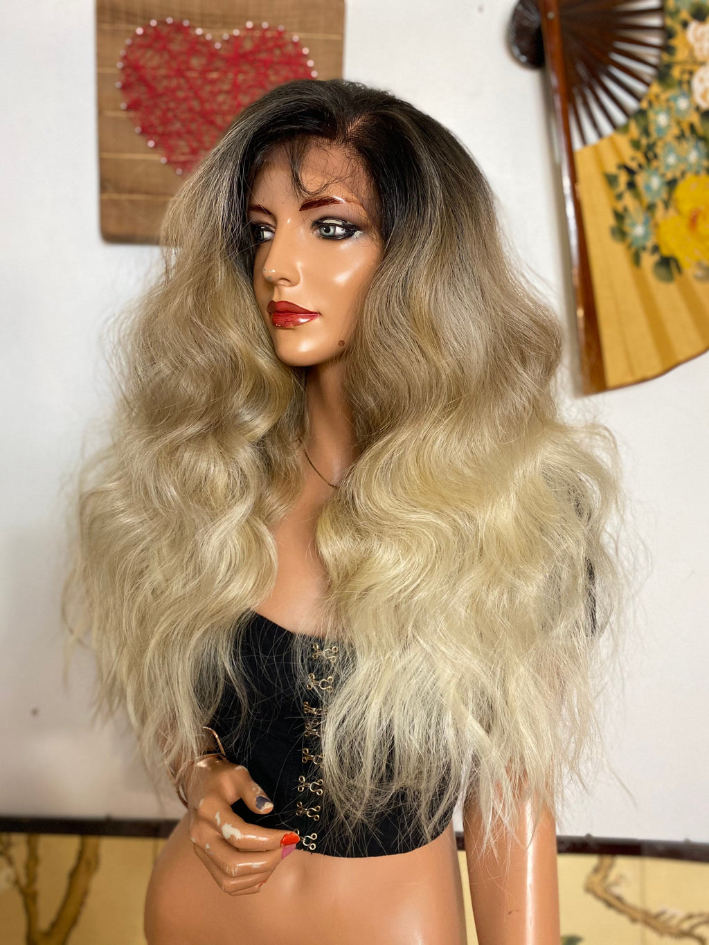 "TABITHA ash blonde lace frontal wig 24"" 180%