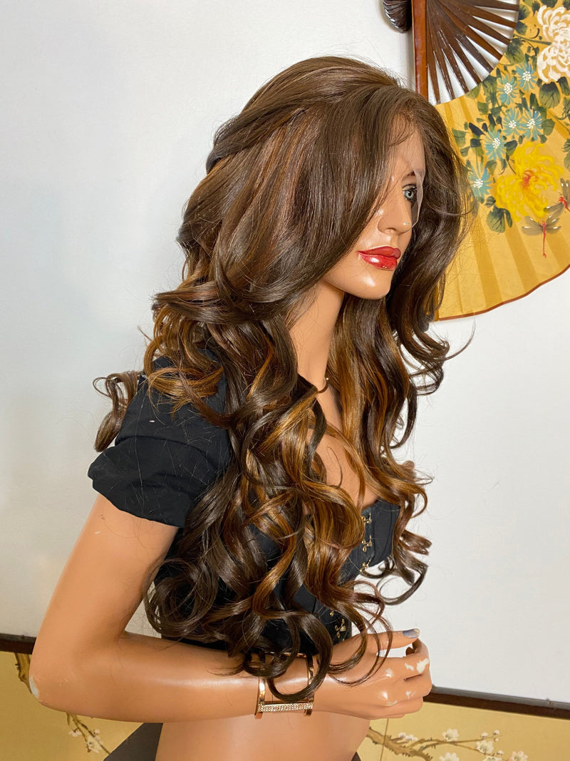 JOSIE* ombré brown curls |LUXURIOUS 13x4 ILLUSION lace frontal wig 26""