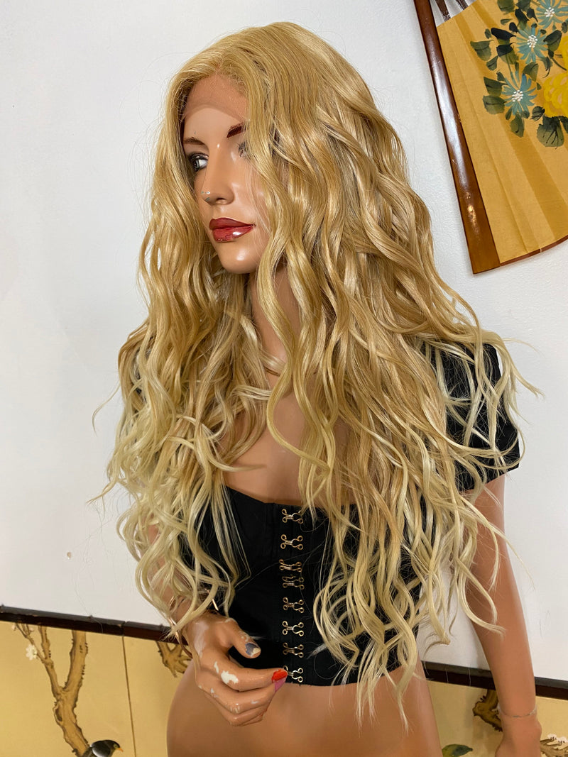 SOPHIE* balayage blonde layered waves |LUXURIOUS ILLUSION lace front wig 22""