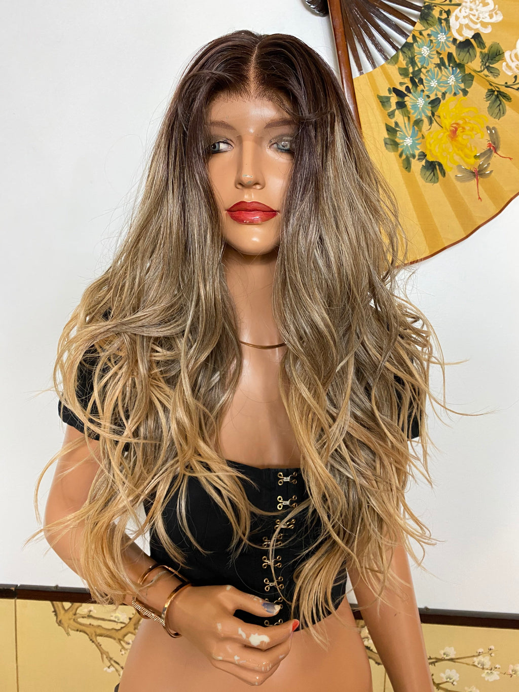 CANDI* ombré blonde brown layered waves |LUXURIOUS ILLUSION lace front wig 22""