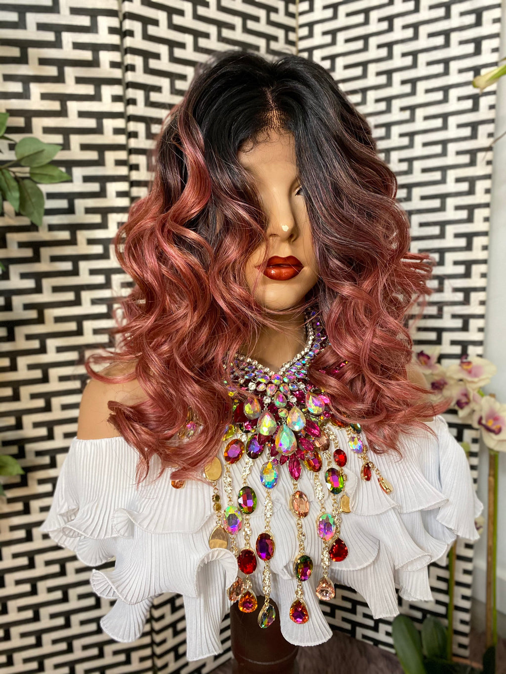 "CALYPSO* ombré pink curly hair | HH blended 4x4 silk top LUXURIOUS lace front wig 12"" long"