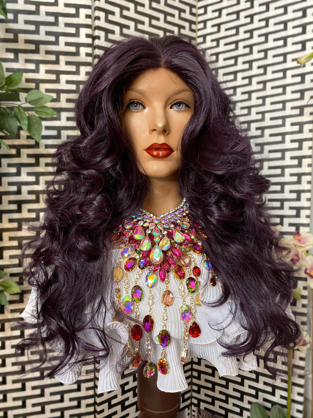 BARBADOS* purple volume curls HH blended|4x4 silk top LUXURIOUS lace front wig 18""