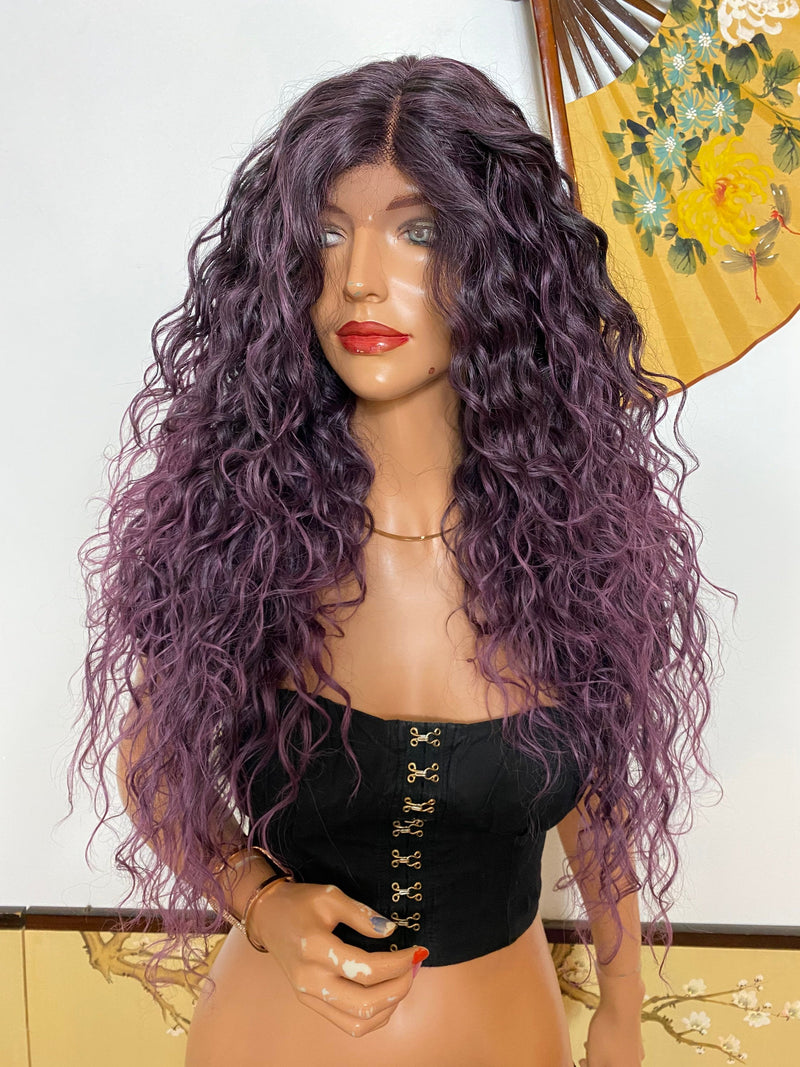 ROYAL* lavender purple layered waves |LUXURIOUS ILLUSION lace front wig 24""