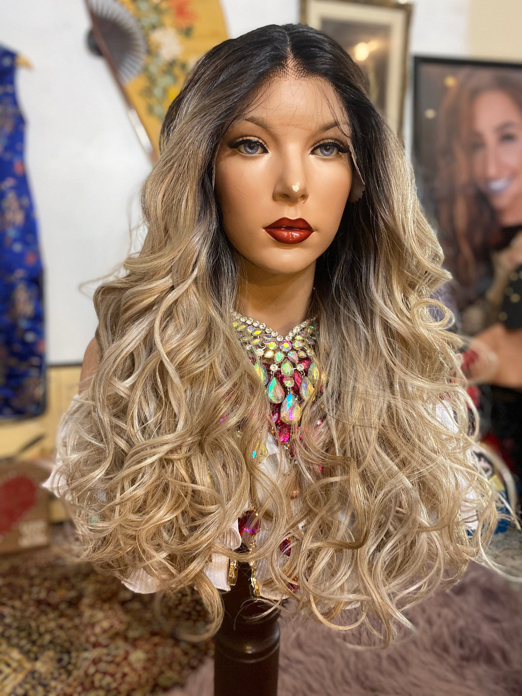 "ASH BLONDE lace front wig 22"" Long