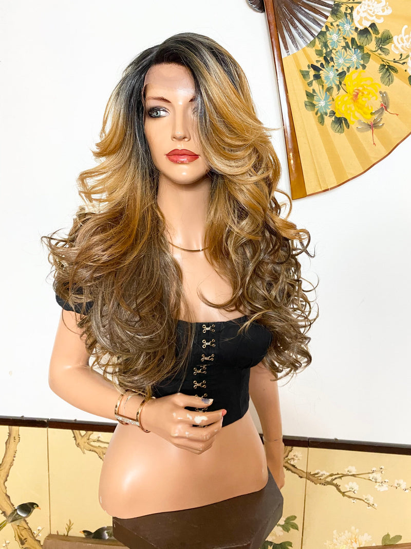 ERIN* balayage dark blonde layered volume curls hair| LUXURIOUS ILLUSION *side part* lace front wig 26""
