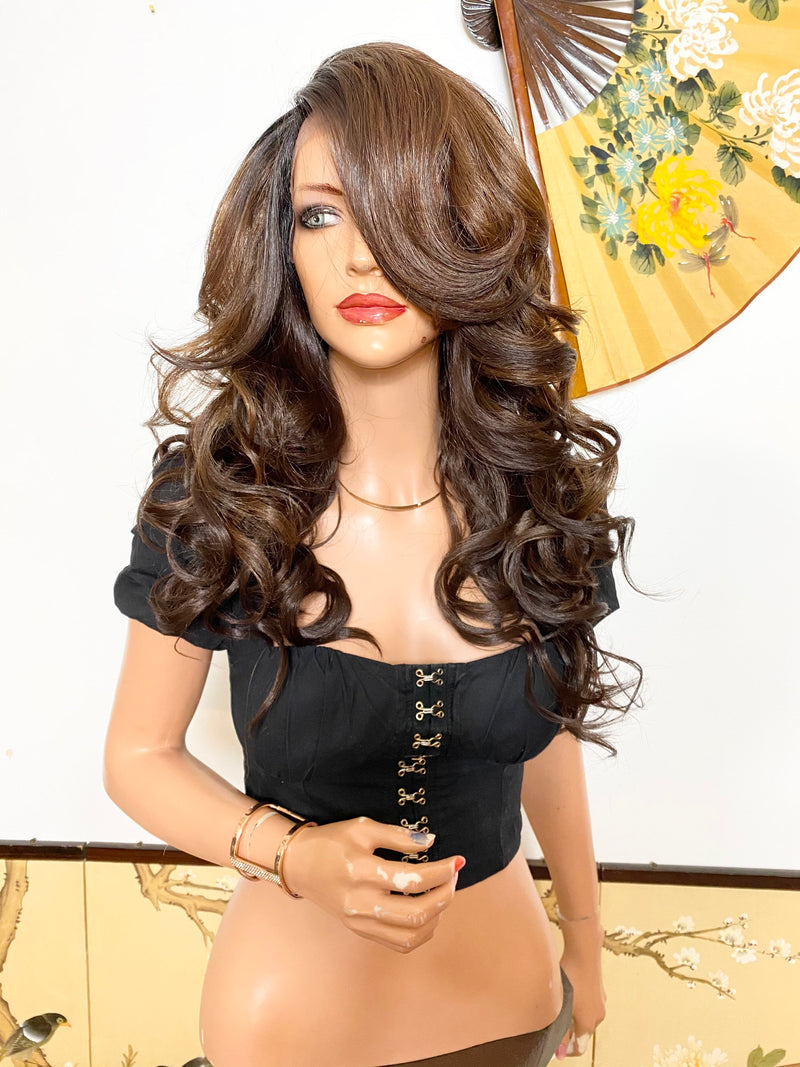 JEANNA* balayage Brown hair| LUXURIOUS ILLUSION *side part* lace front wig 18""