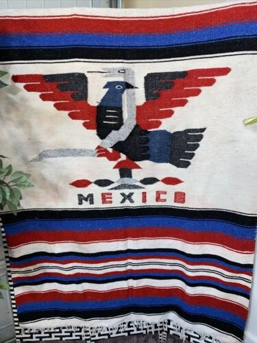 VTG Mexico Mayan Red White Blue Zapotec Aztec Rug Blanket Wool Colorful 48 X 75