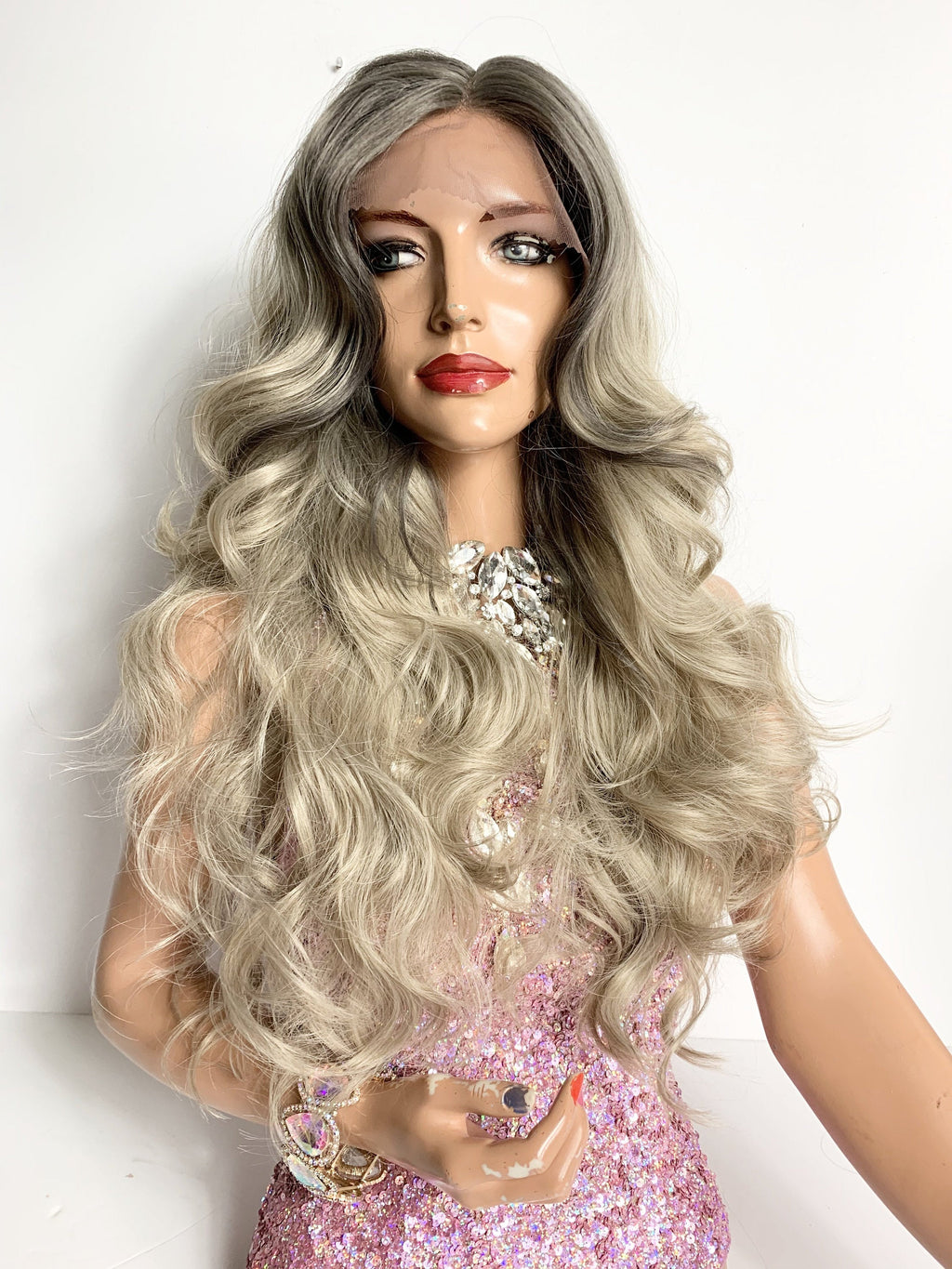 ALLY ASH BLONDE Middle Parting Lace Front Wig  22""