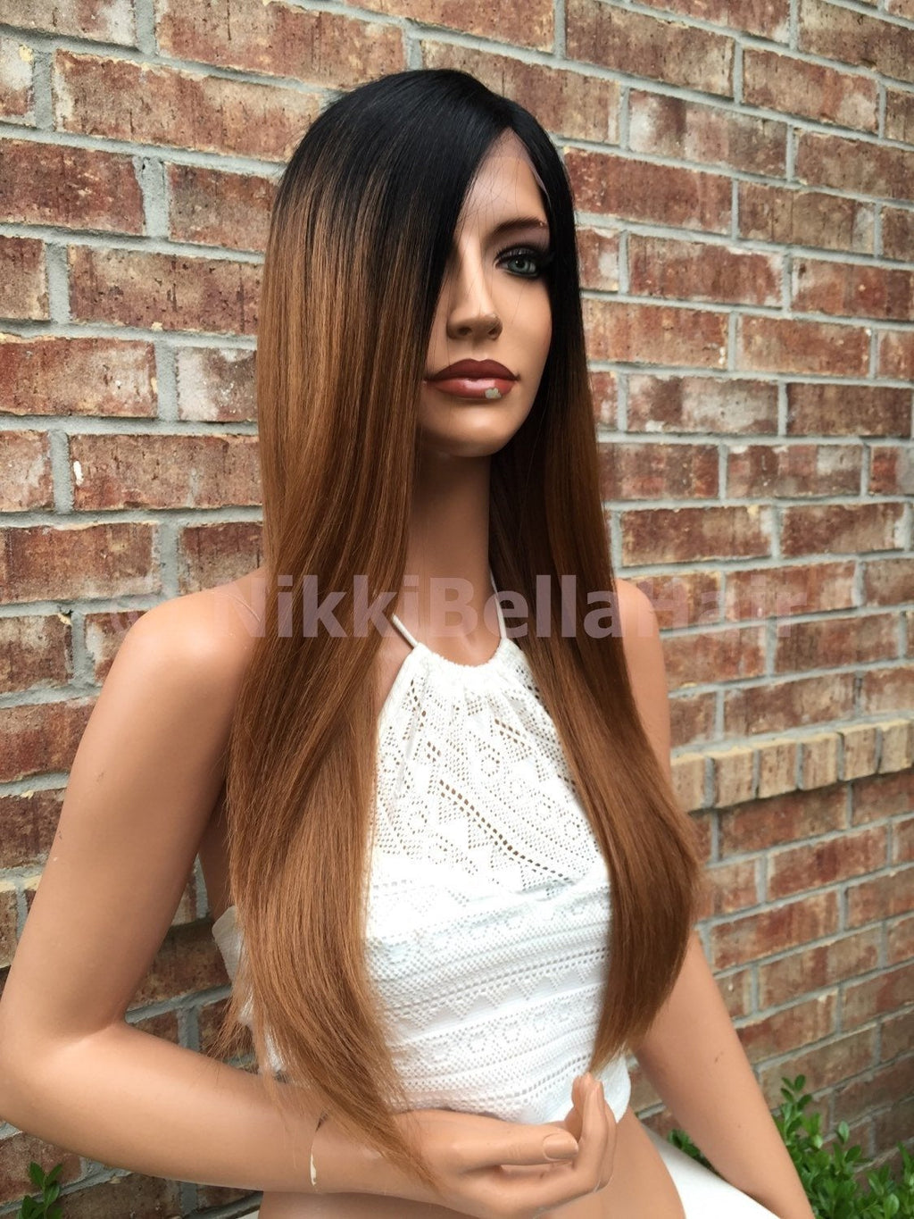 Barbara Dark Ombre Auburn Multi Parting Human Hair Blend straight lace front wig 22""