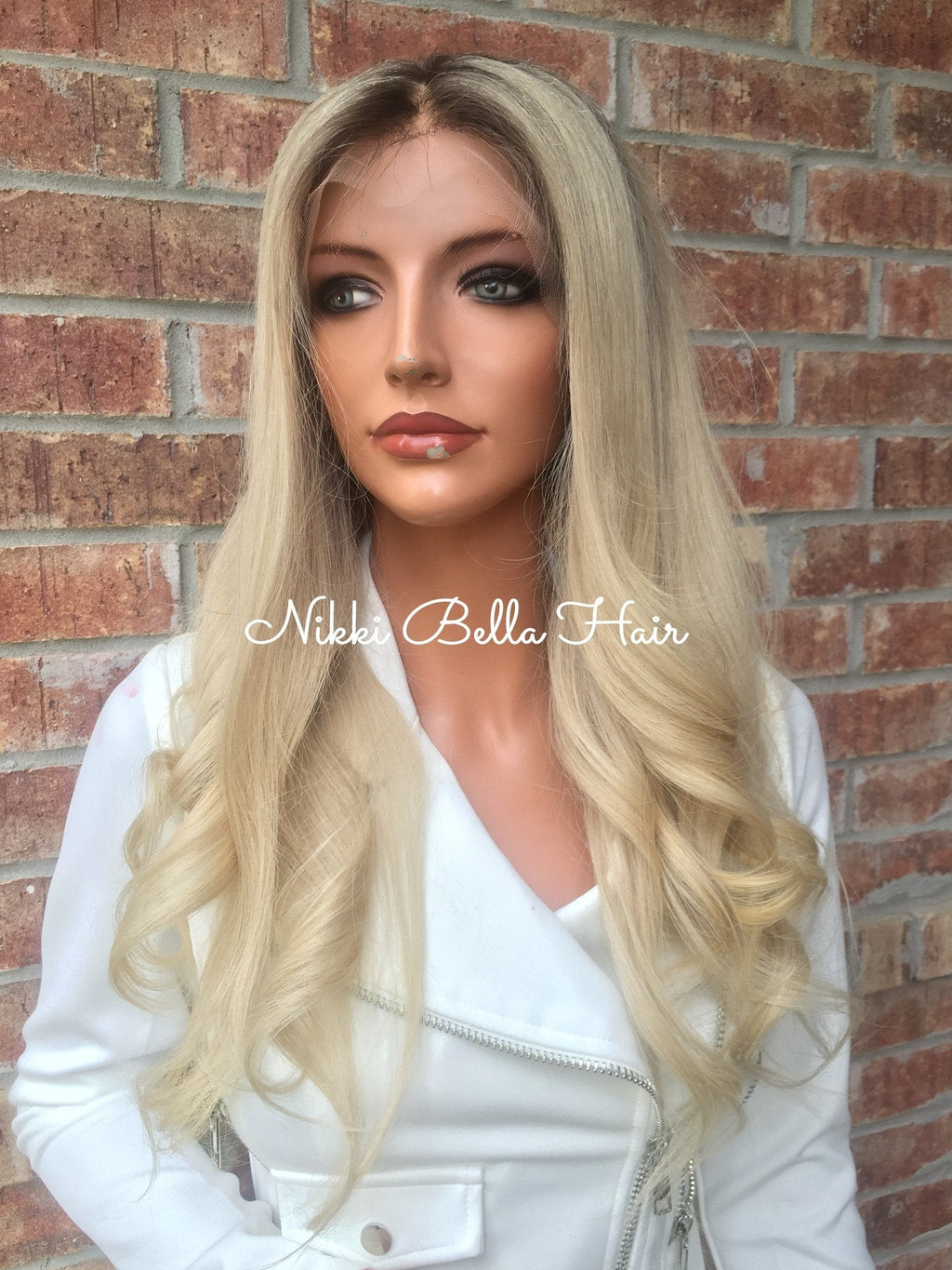 Ash blonde Human Hair Multi Parting Lace front wig 18""