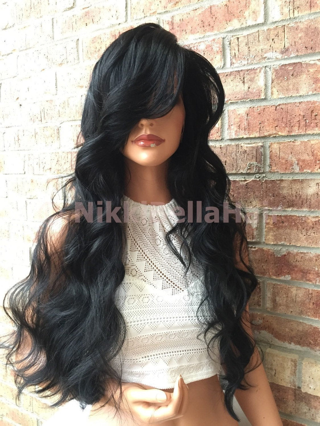 Flint Black Body Curly Front Swiss Human Hair Blend Multi Parting Lace Front Wig 26""