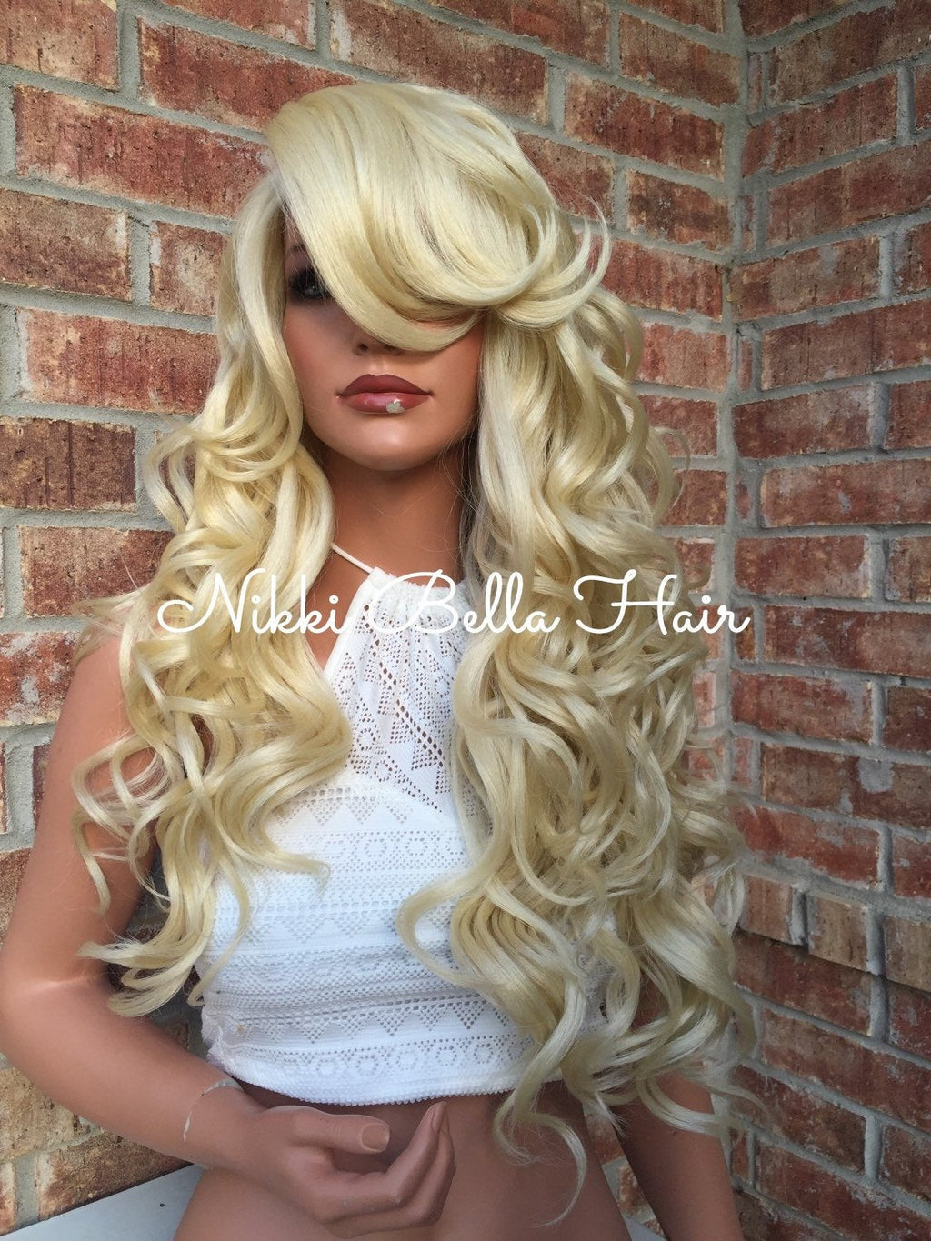 Farrah Human Hair Blend Multi Parting Light Blonde Lace Front Wig