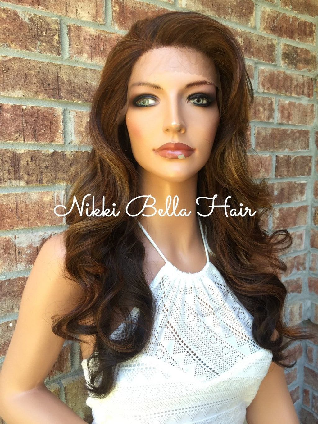 GIGI Wave Ombré Rooted Human Hair Blend Multi Parting Lace Front Wig