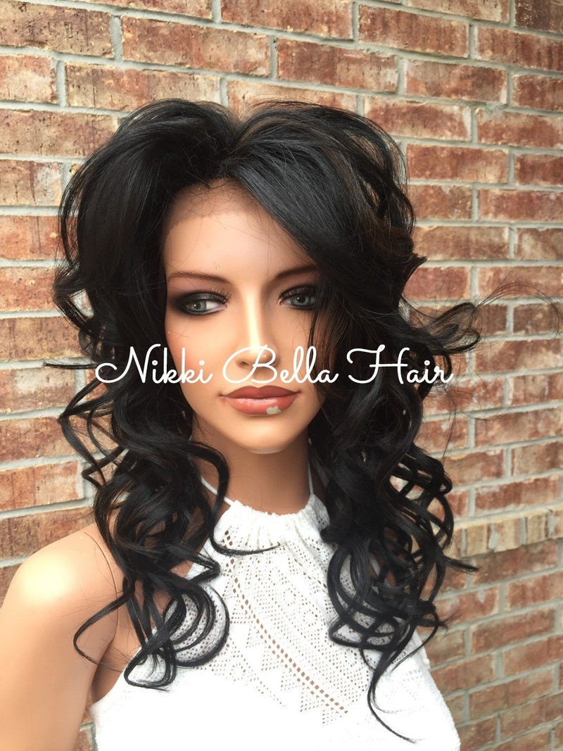 "Sky Whole Full Lace Handtied Human Hair Blend Lace Wig 16"" Dark Brown Auburn"
