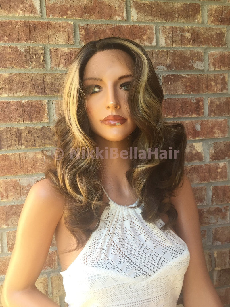 Light brown blond balayage curly lace front wig 16