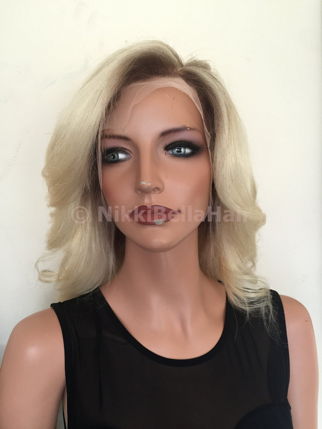 Lightest Ash Blonde Hair 12 inch Full Lace Wig