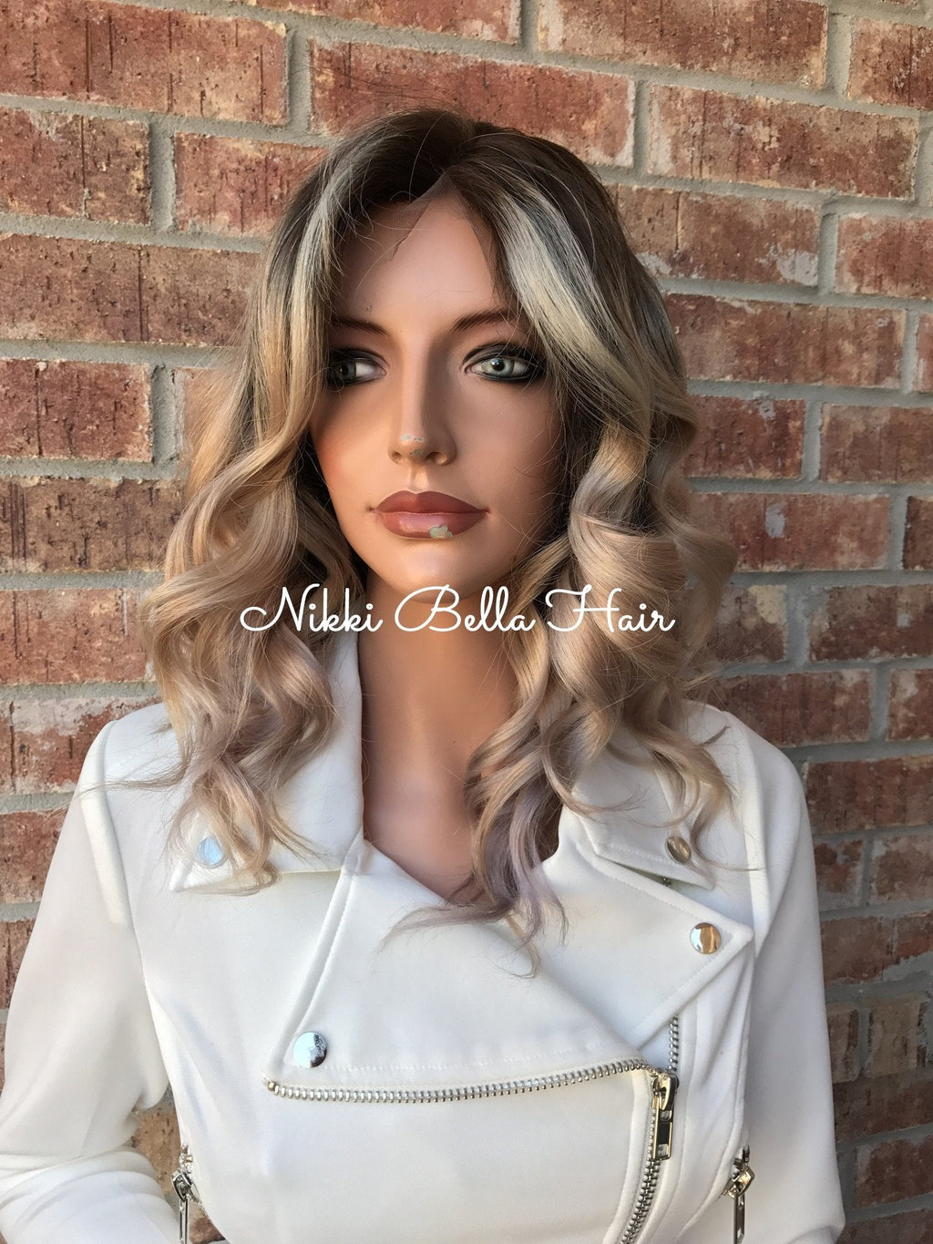 Ash Blonde Balayage Ombré Human Hair Multi Parting Full Lace Wig