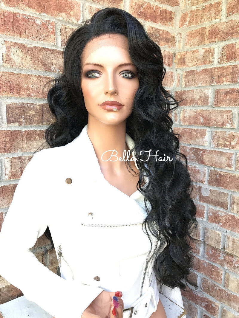 Black Waves Human Hair Blend Multi Parting Lace Front Wig 30""