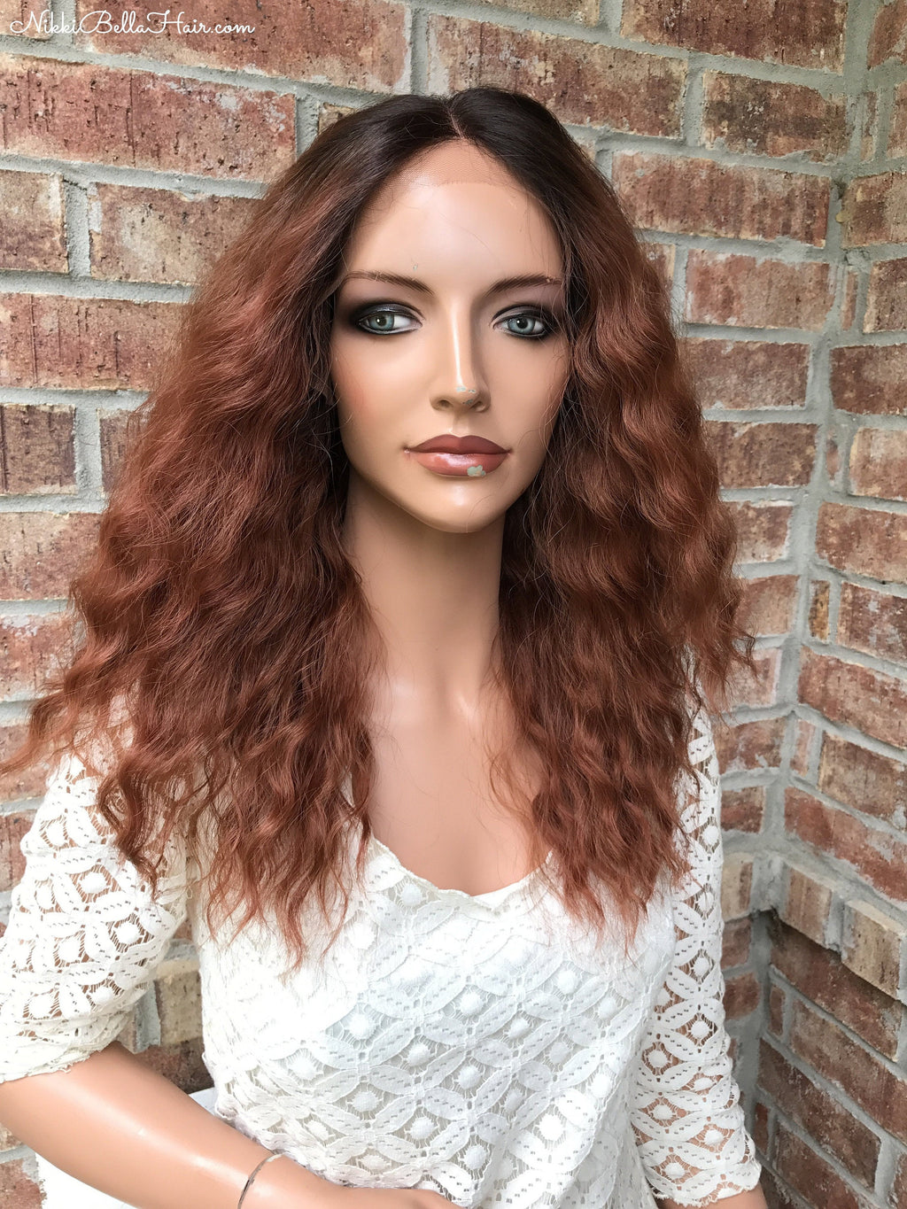 "Red Ombré Human Hair Blend Multi Parting Lace Front Wig 20"" 41724"