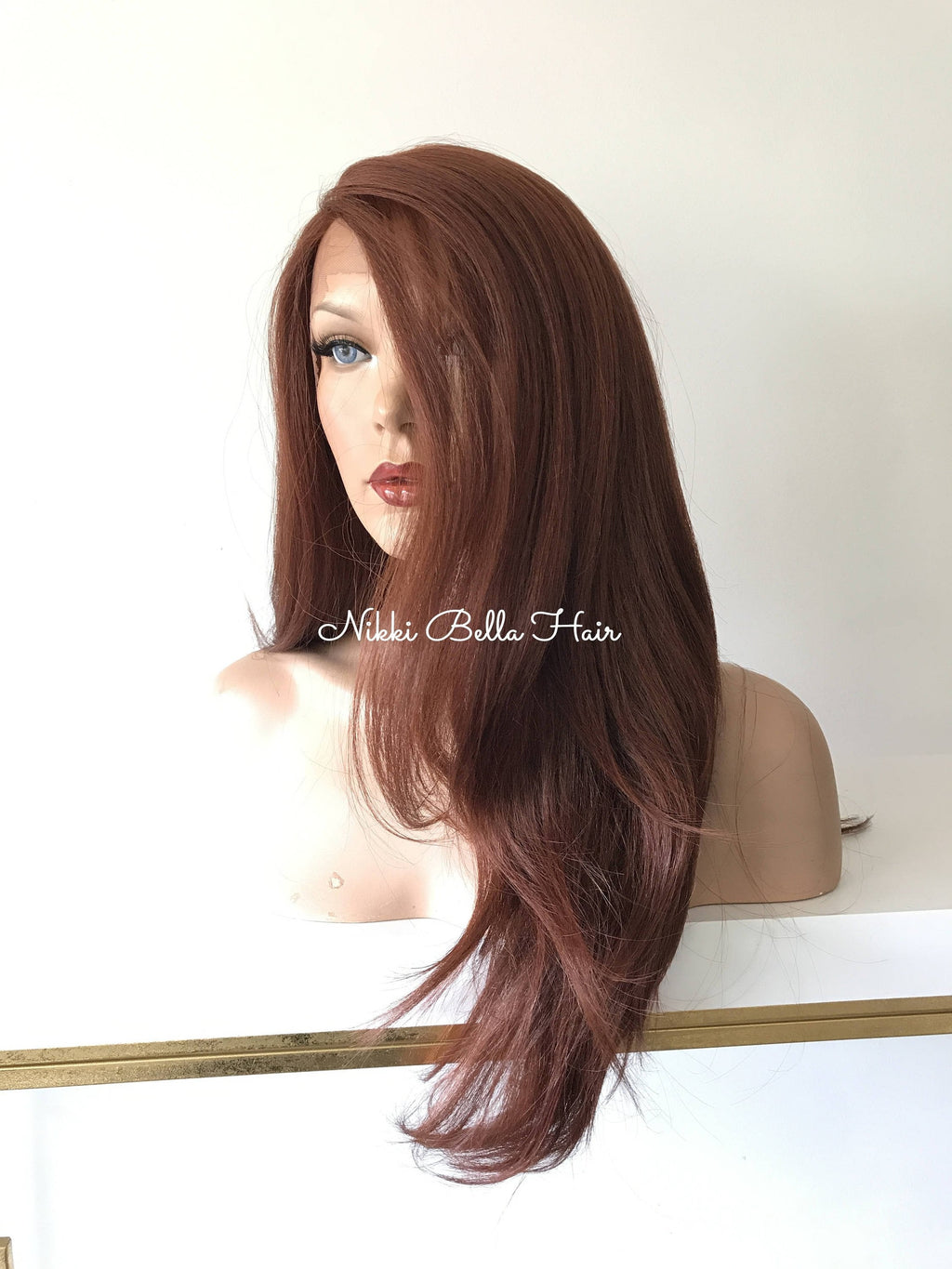 Red Premium' Silk Human Hair Blend Multi Parting lace front wig 24' 41722