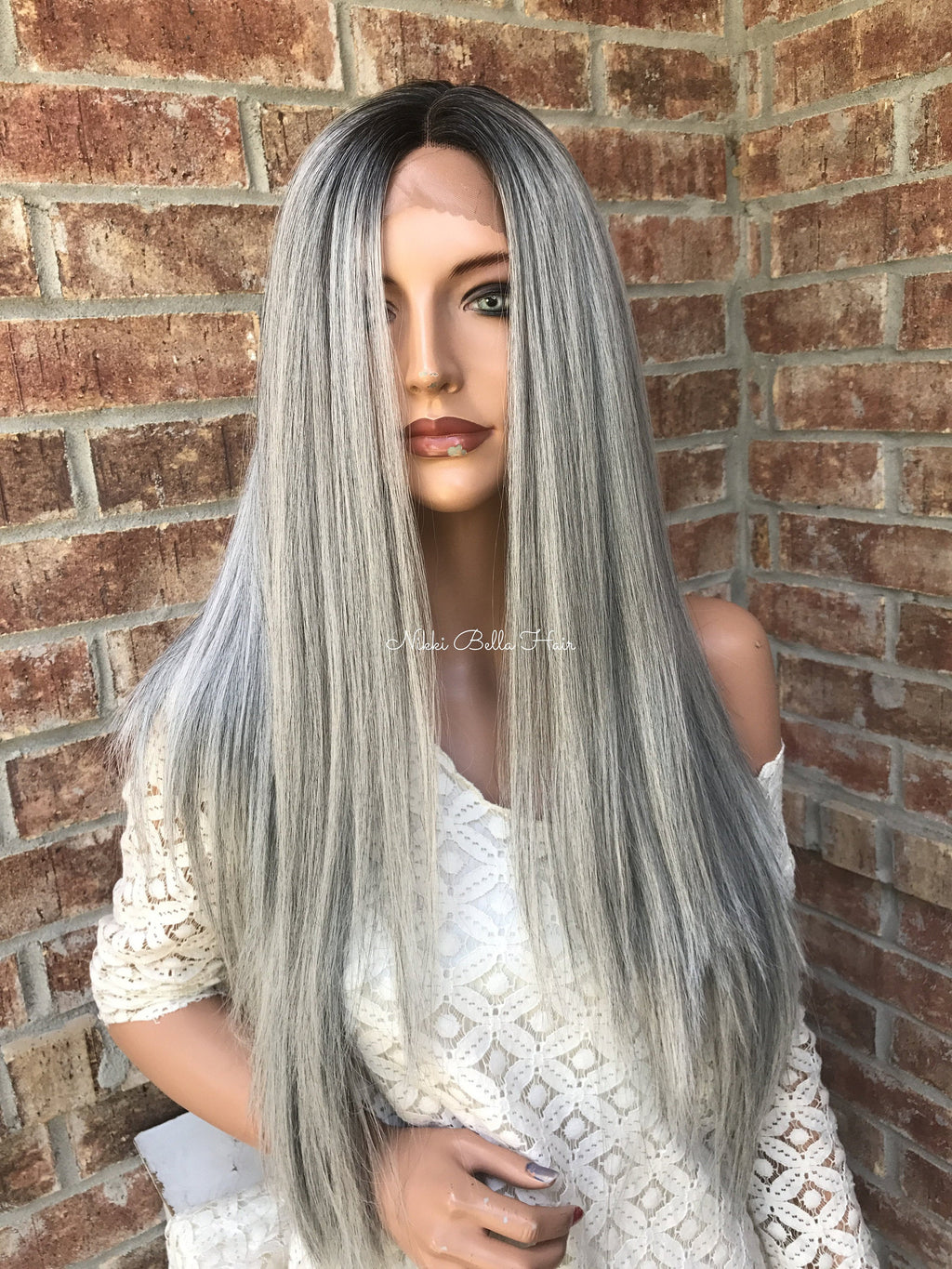 Grey Black Ombré Multi Parting Human Hair Blend Lace Front Wig - Grannies