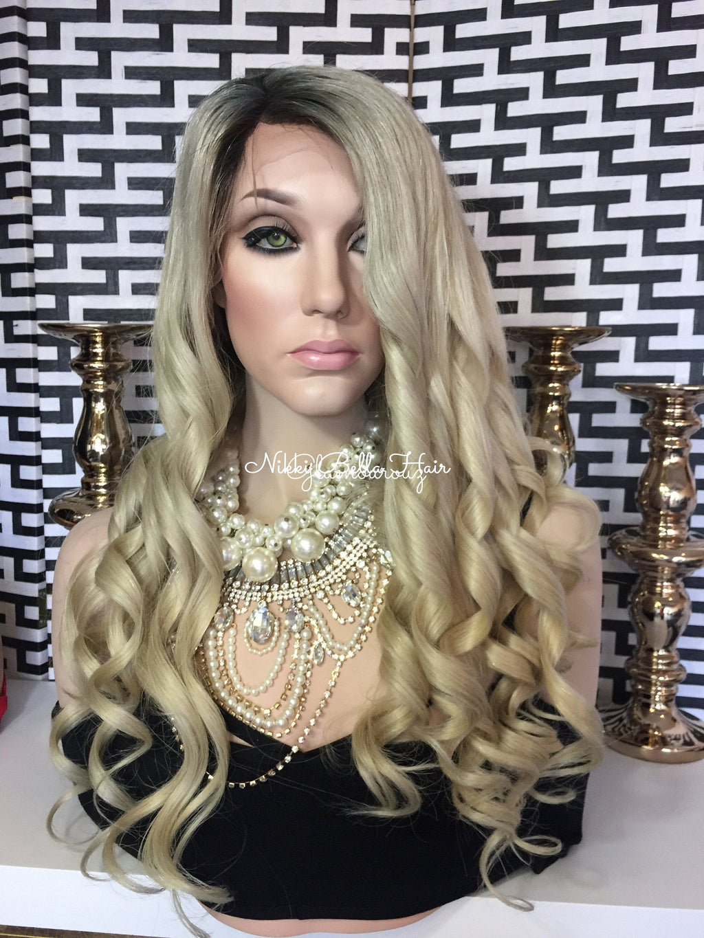Ombré Light Blond Balayage Remy Human Hair Natural Full Lace Wig - Charlotte
